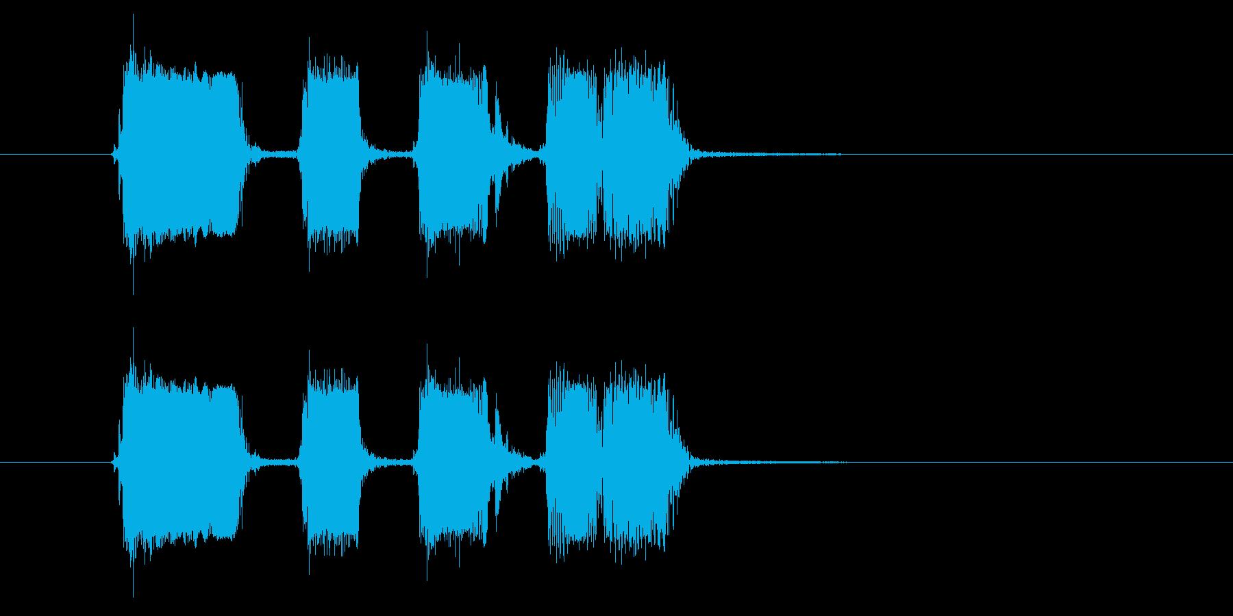 リズミカルギター音(弦、弾く)の再生済みの波形