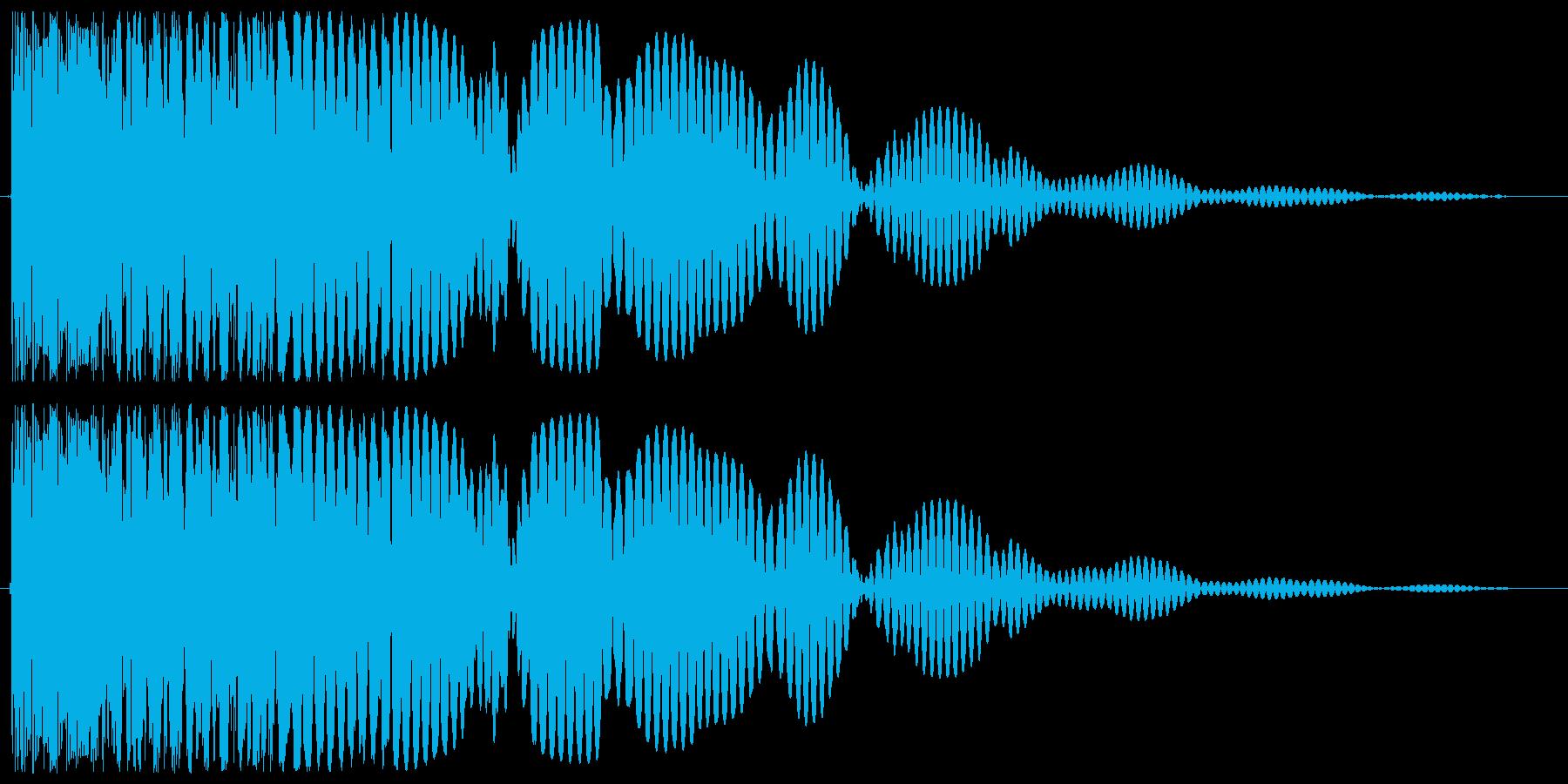 余韻がある低音の爆発音の再生済みの波形