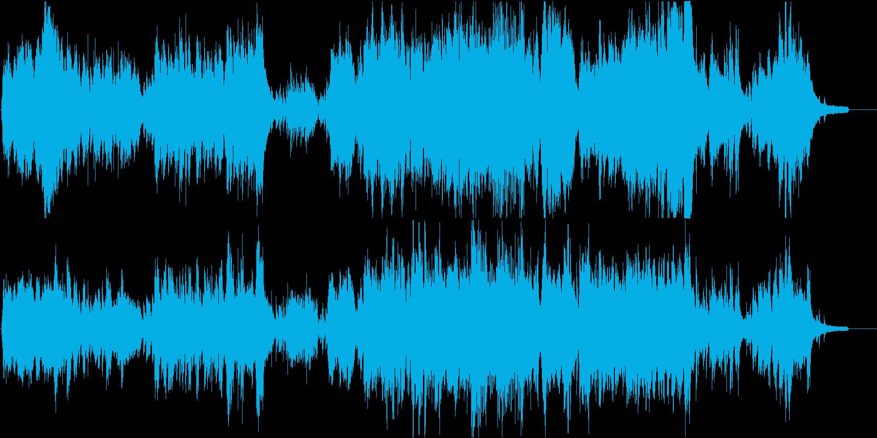 不協和音で構成された躍動感のある現代音楽の再生済みの波形