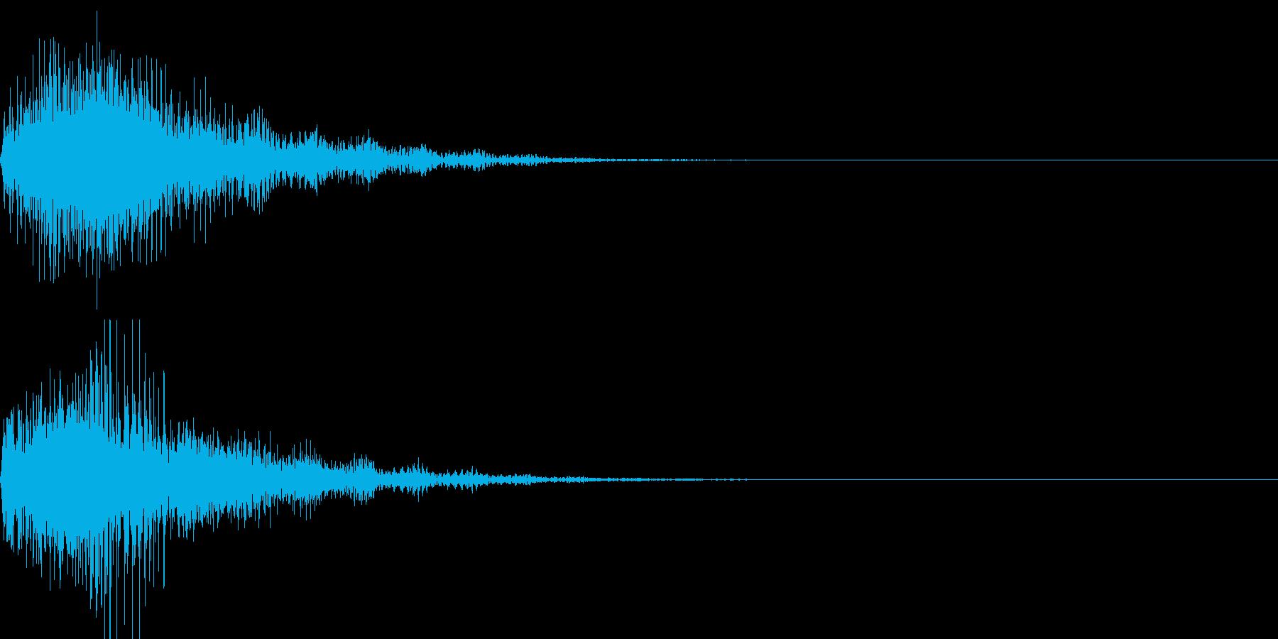 柔らかく弾力性のある物を叩いた音の再生済みの波形