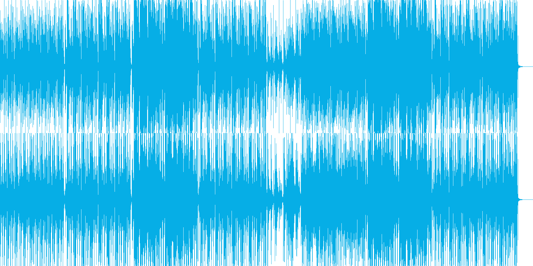 ピアノとエレキとほのぼのとした笛の音の再生済みの波形