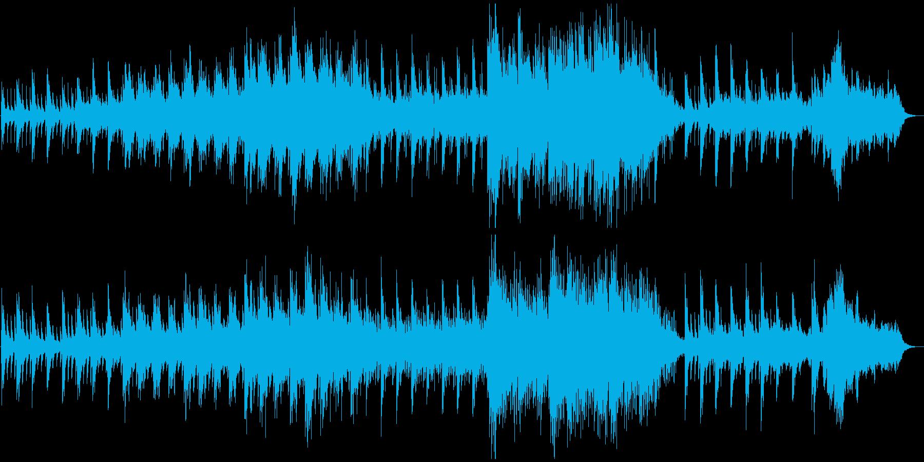 穏やかな雰囲気のピアノとシンセのBGMの再生済みの波形