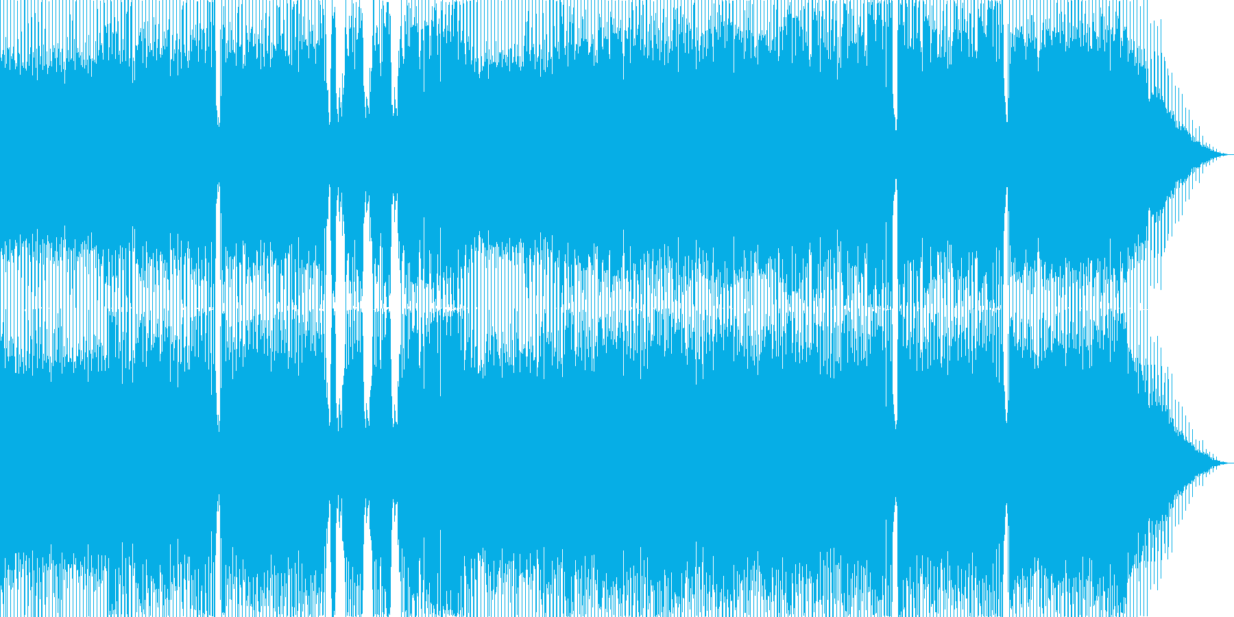 軽い4つうちリズムで心が弾む曲の再生済みの波形