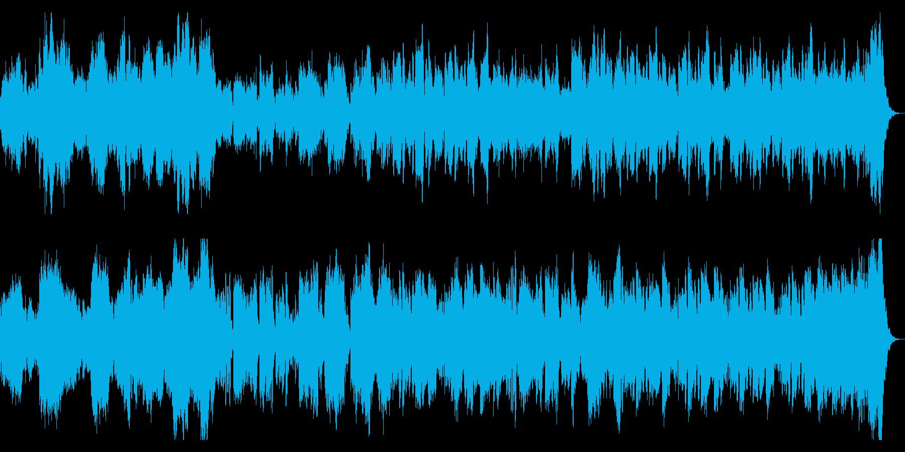 ホラー向け 悲しいピアノとオーケストラ曲の再生済みの波形