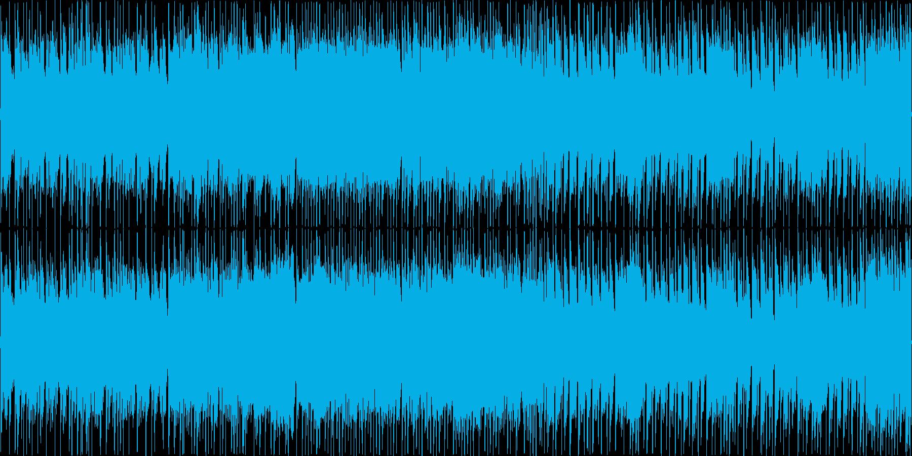 ギターと電子音の混じったロックサウンドの再生済みの波形