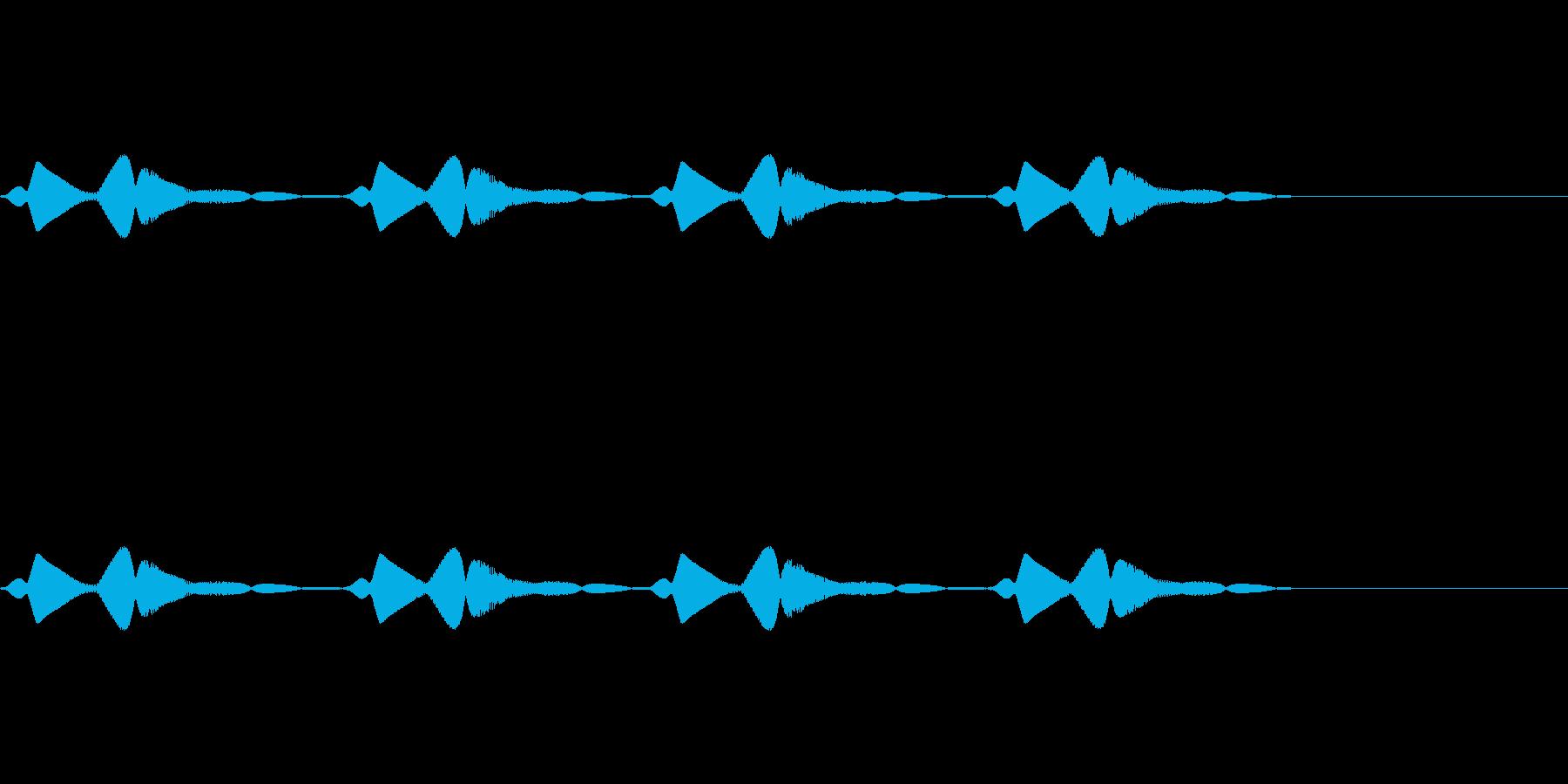 小動物が跳ねながら移動するコミカルな音の再生済みの波形