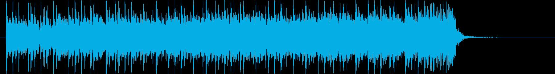 激しいドラムとシンセベースのロックBGMの再生済みの波形