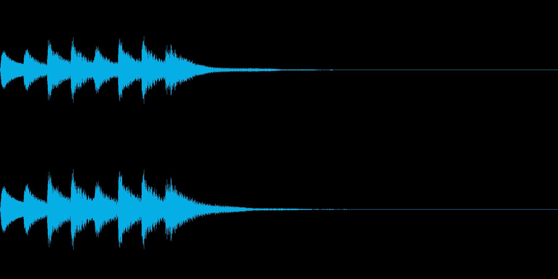 高音のシールめくり音の再生済みの波形