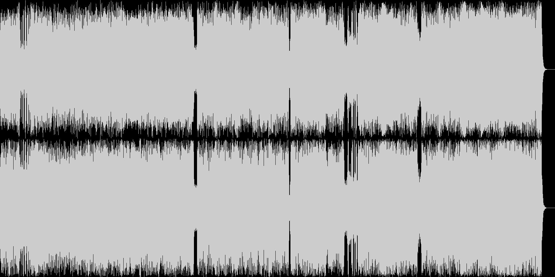 テンポの速いメロディアスなメタルロックの未再生の波形