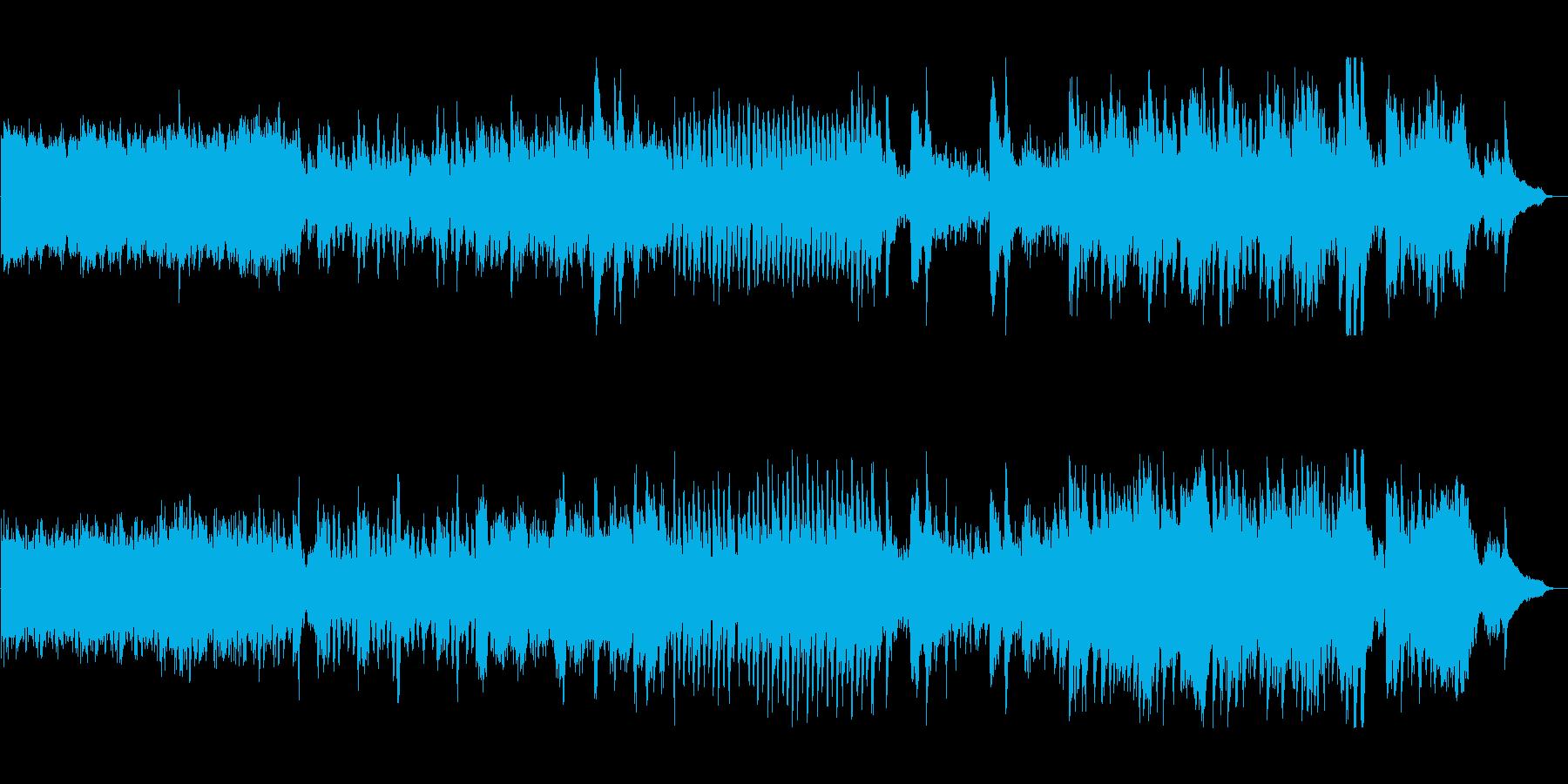 軽快なピアノと幻想的な弦のアップテンポの再生済みの波形