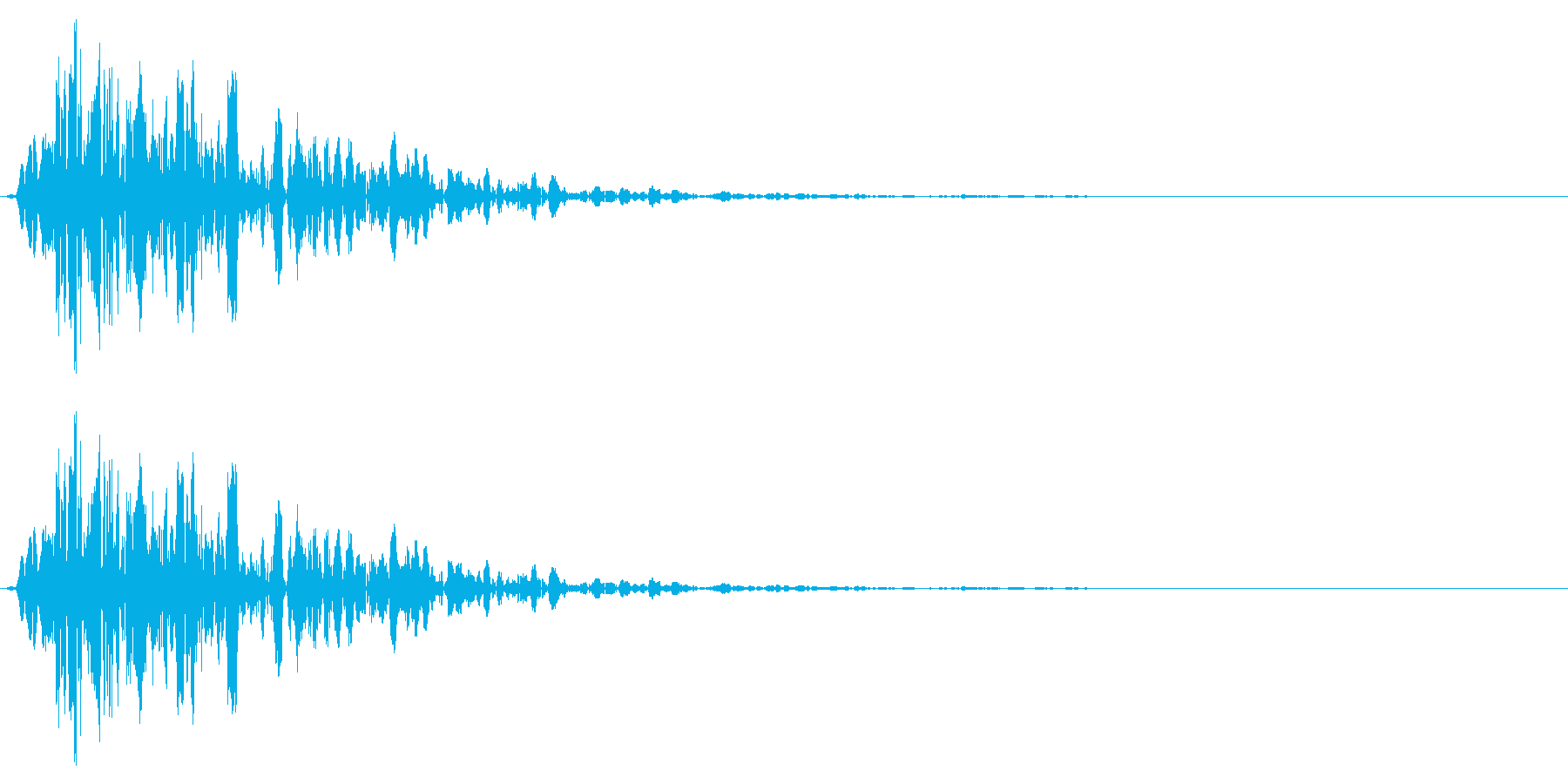 打撃(攻撃)を受け止めるイメージの再生済みの波形