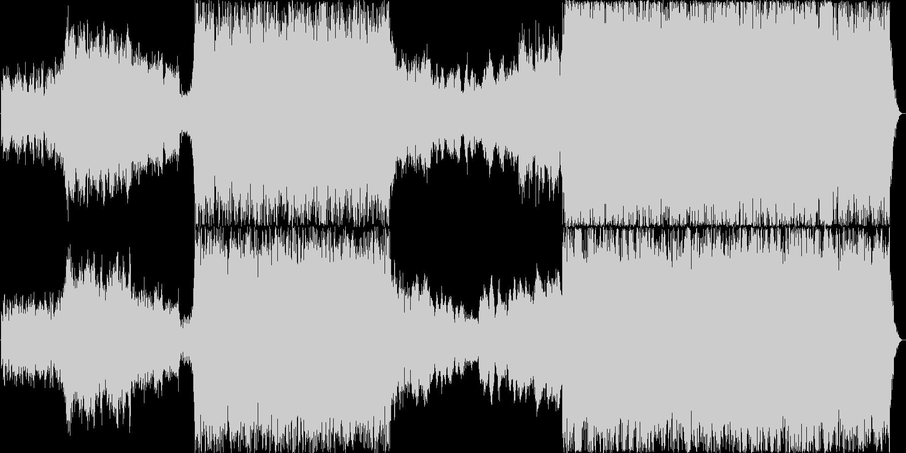 力強いパーカッションとオーケストラBGMの未再生の波形