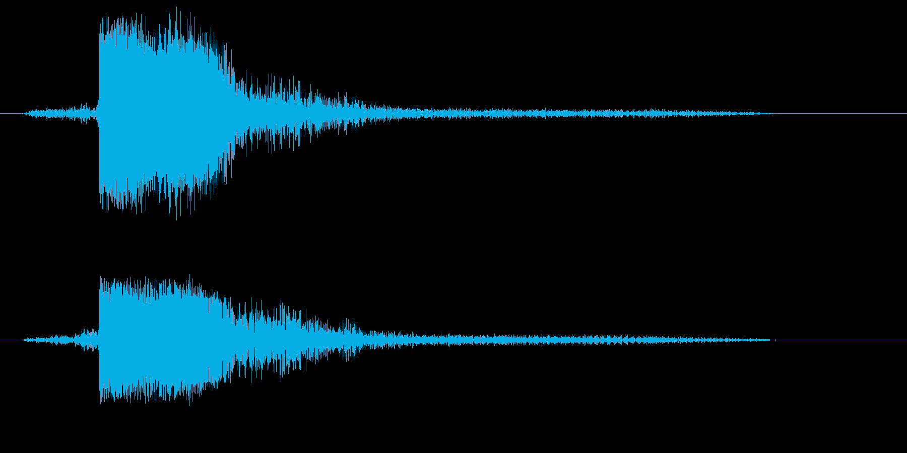 ガン!(金属を叩くシンプルな音)の再生済みの波形