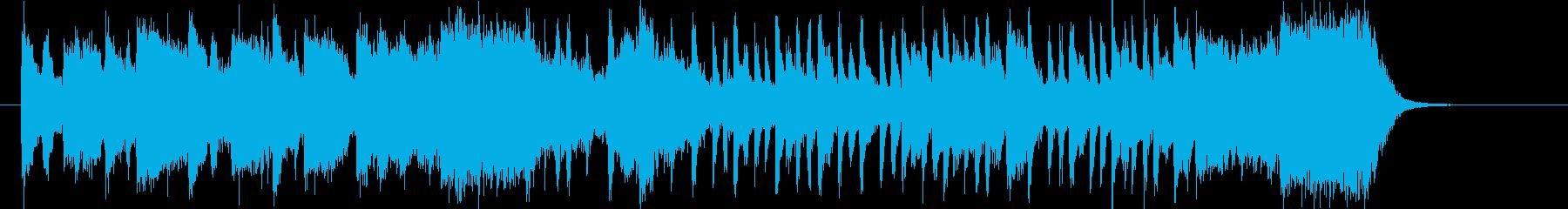 明るく元気でアップテンポで広がりのある曲の再生済みの波形