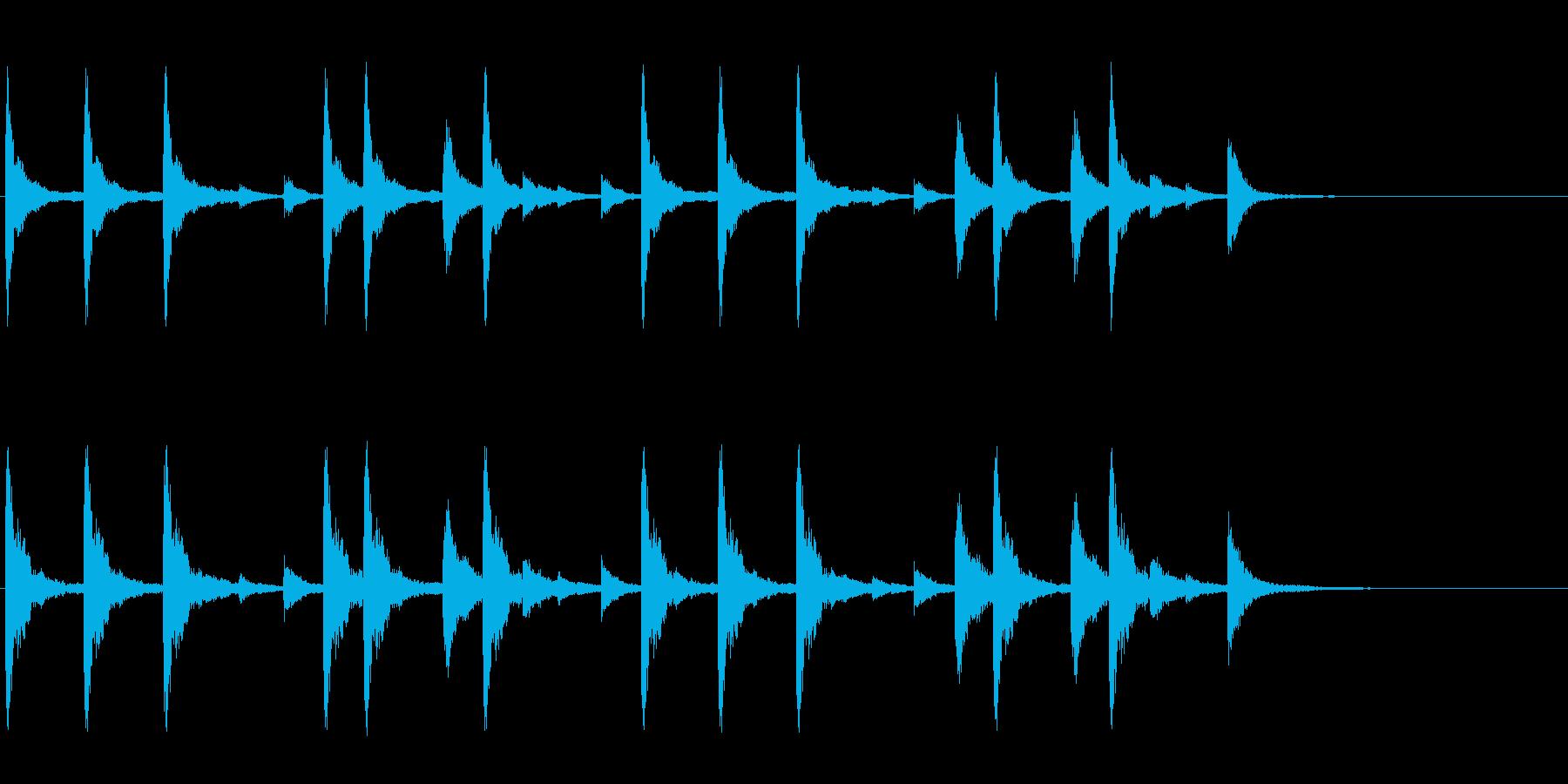 お祭りお囃子の当たり鉦のフレーズ音+FXの再生済みの波形