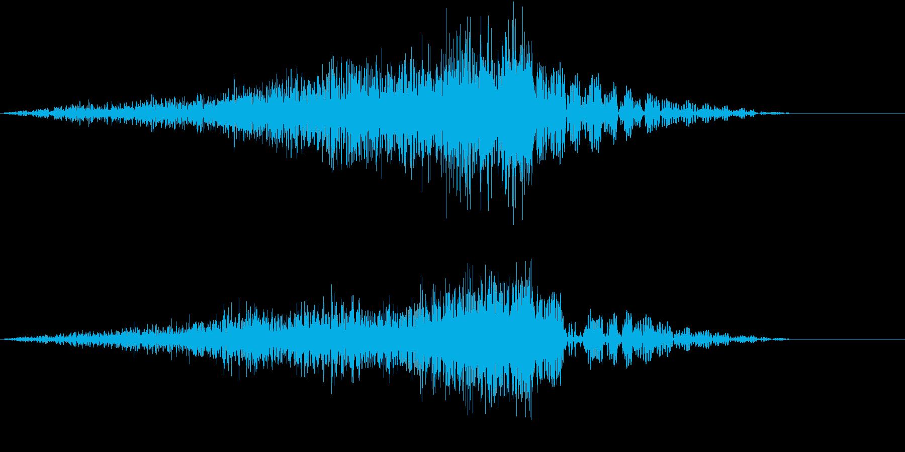 迫力ある上昇もしくは下降音の再生済みの波形