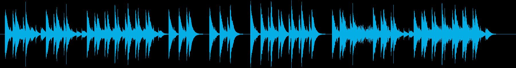 木琴のみの音色で作ったコミカルな短めの曲の再生済みの波形