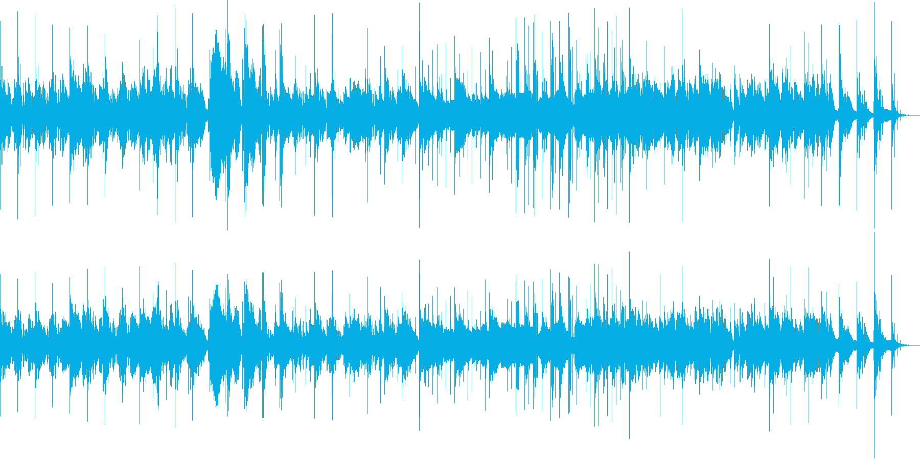 ノイジーなピアノと電子音の再生済みの波形