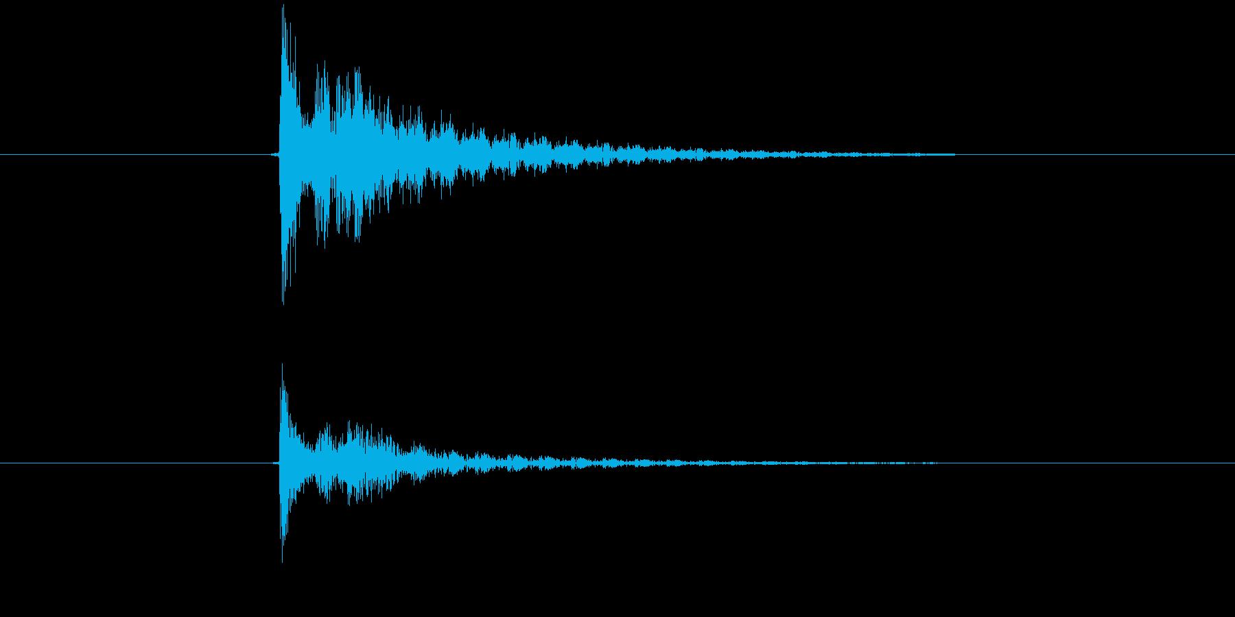 ダメージ、ミス、キャンセル 電子音の再生済みの波形