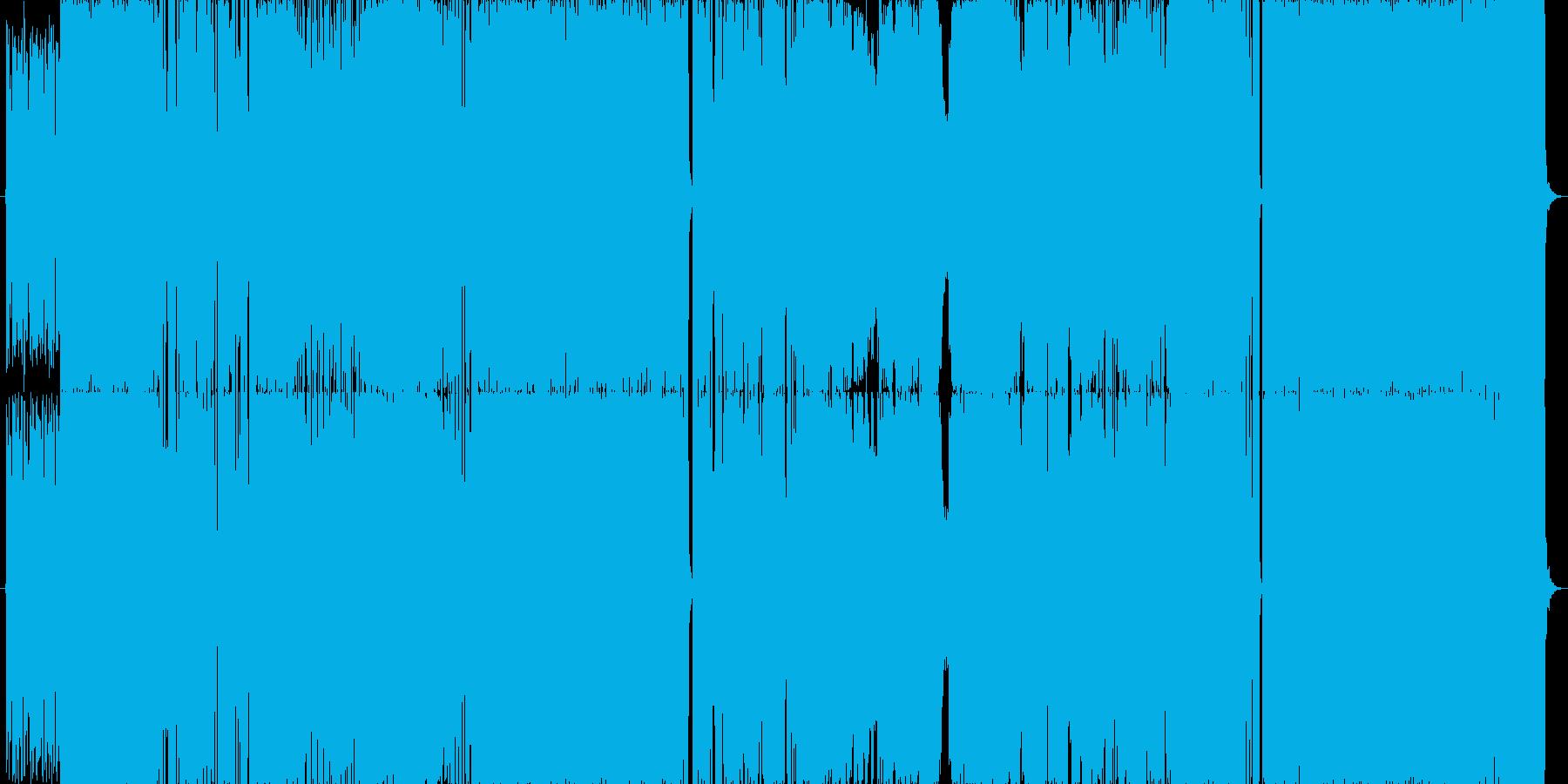 疾走感があり場面変化の多いロック。生演奏の再生済みの波形