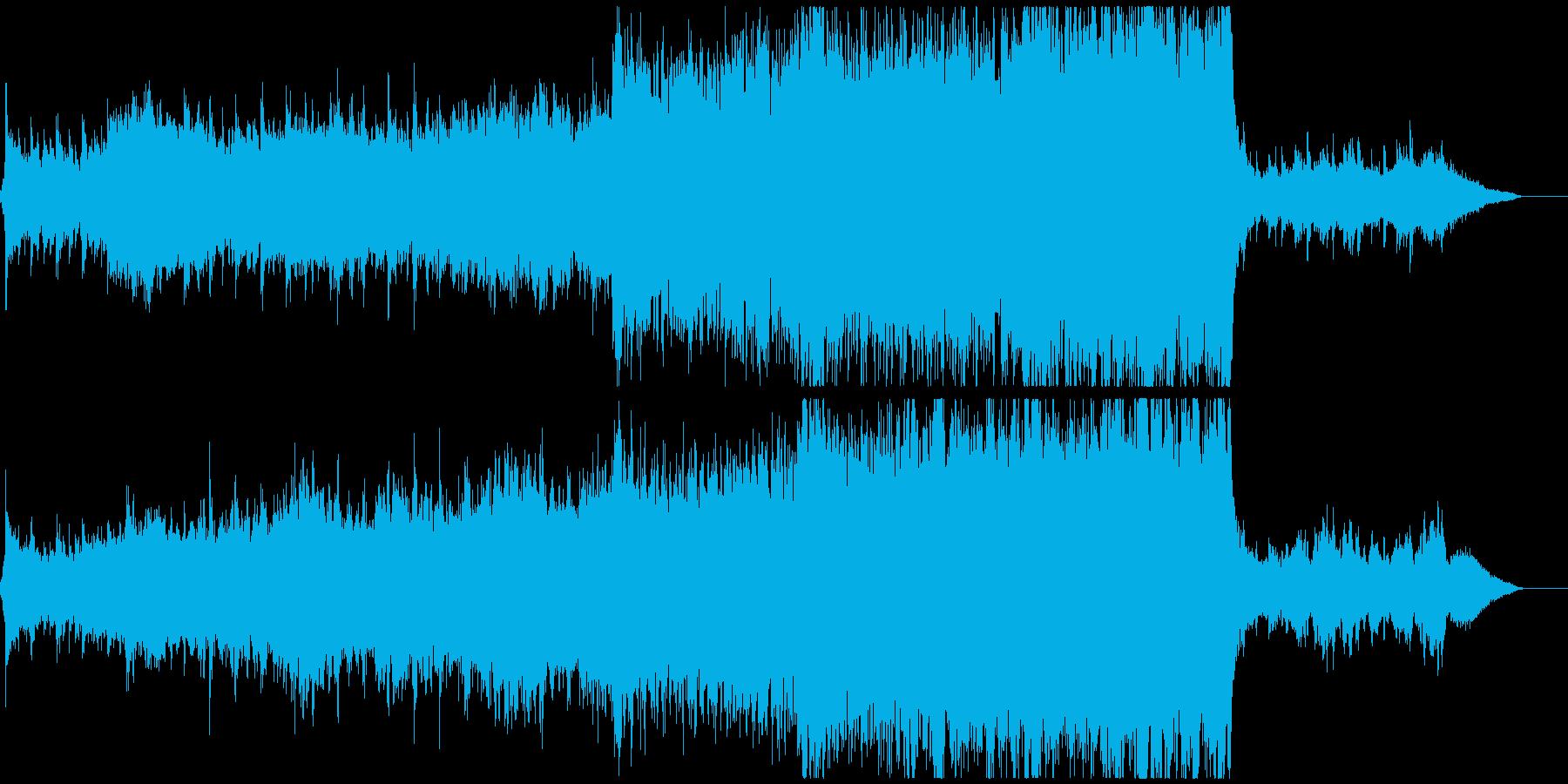 オーケストラとピアノの幸福感のある音楽の再生済みの波形