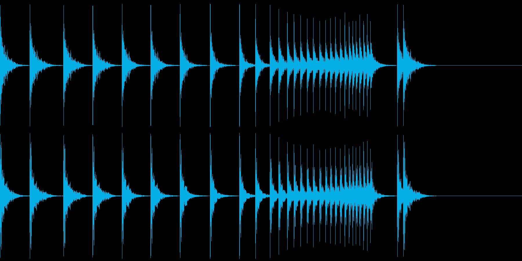 カン!カン!カン!拍子木ロール/ロングの再生済みの波形