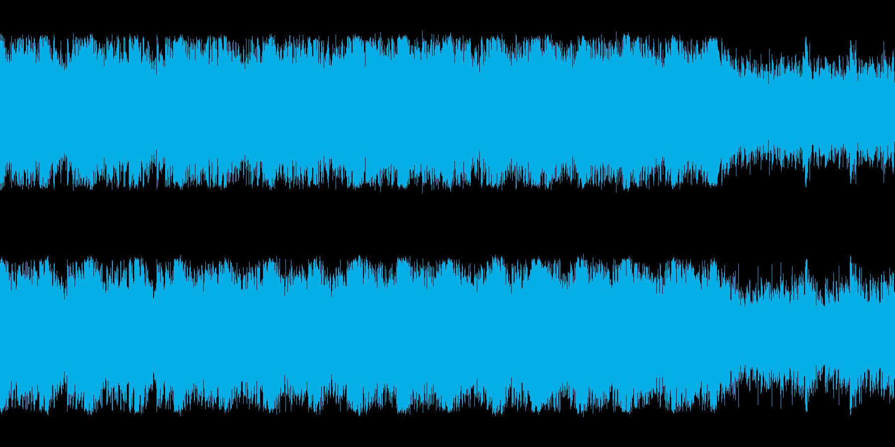 緊迫感のあるオーケストラ編成の暗いBGMの再生済みの波形