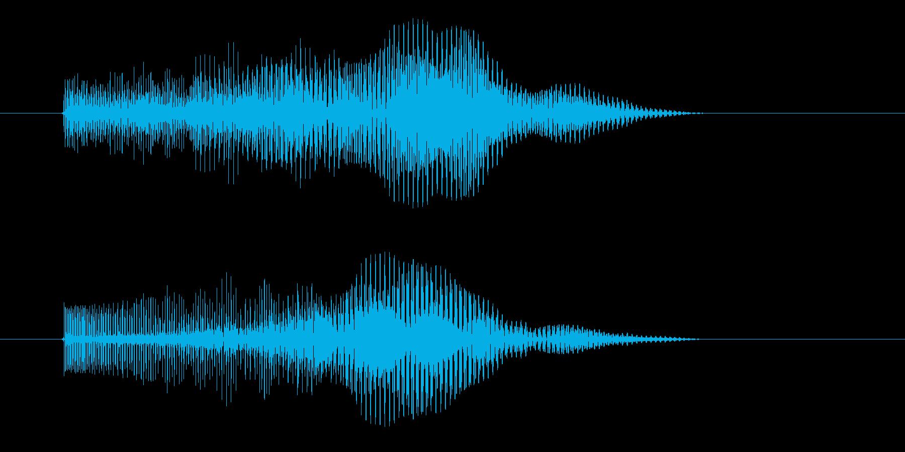 シンセによる無機質でとても短い効果音の再生済みの波形
