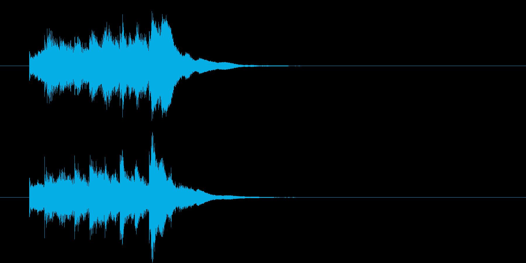 琴の駆け上がり音(ステレオ)の再生済みの波形