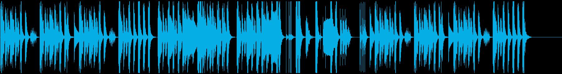 木管楽器と打楽器の日常系コミカル曲の再生済みの波形