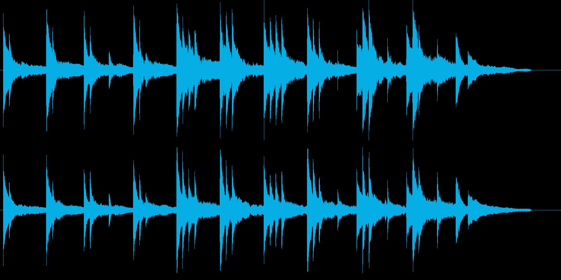 ピアノソロのスローで静かな楽曲の再生済みの波形