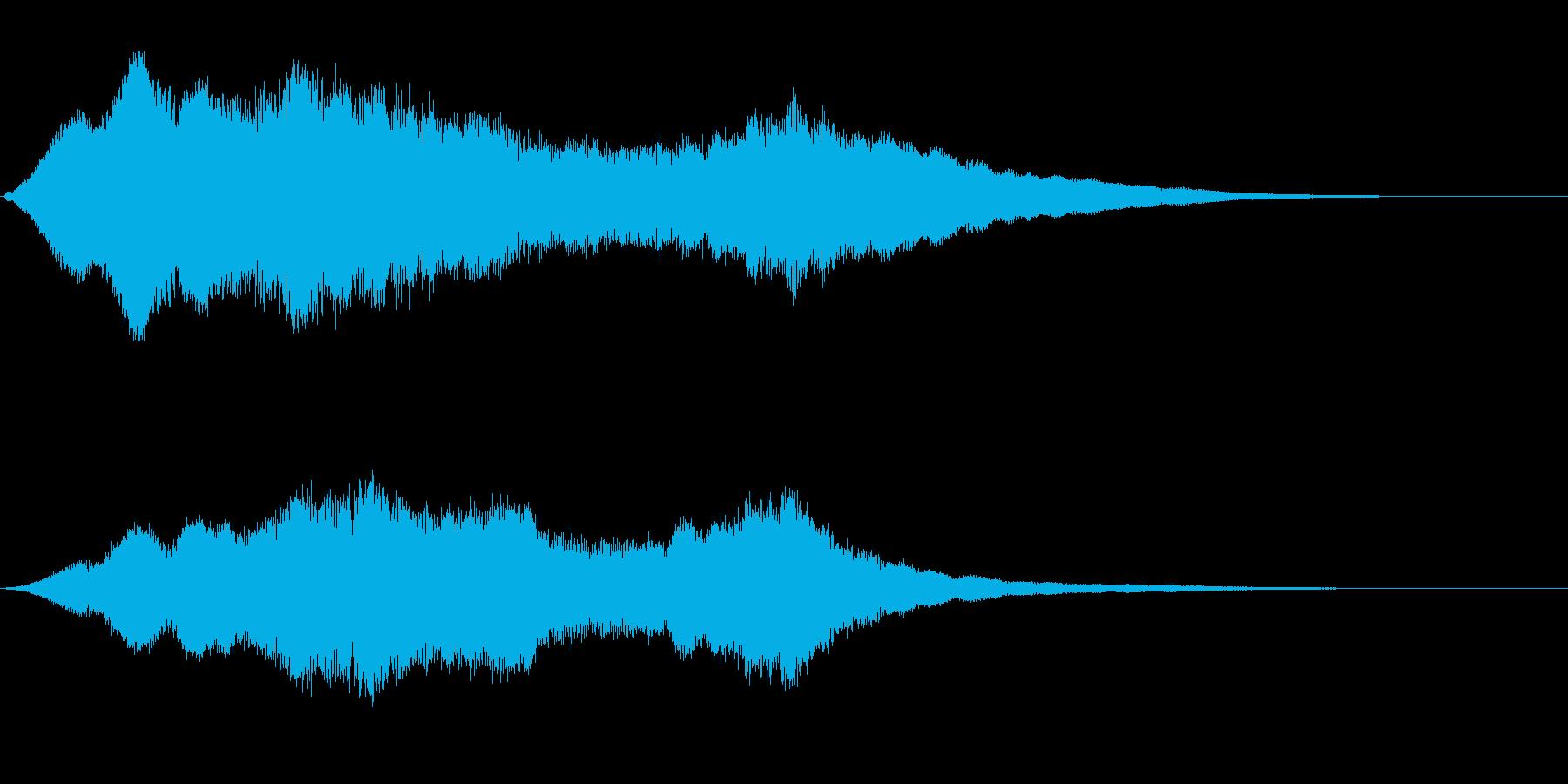 恐怖感のある金属的効果音の再生済みの波形
