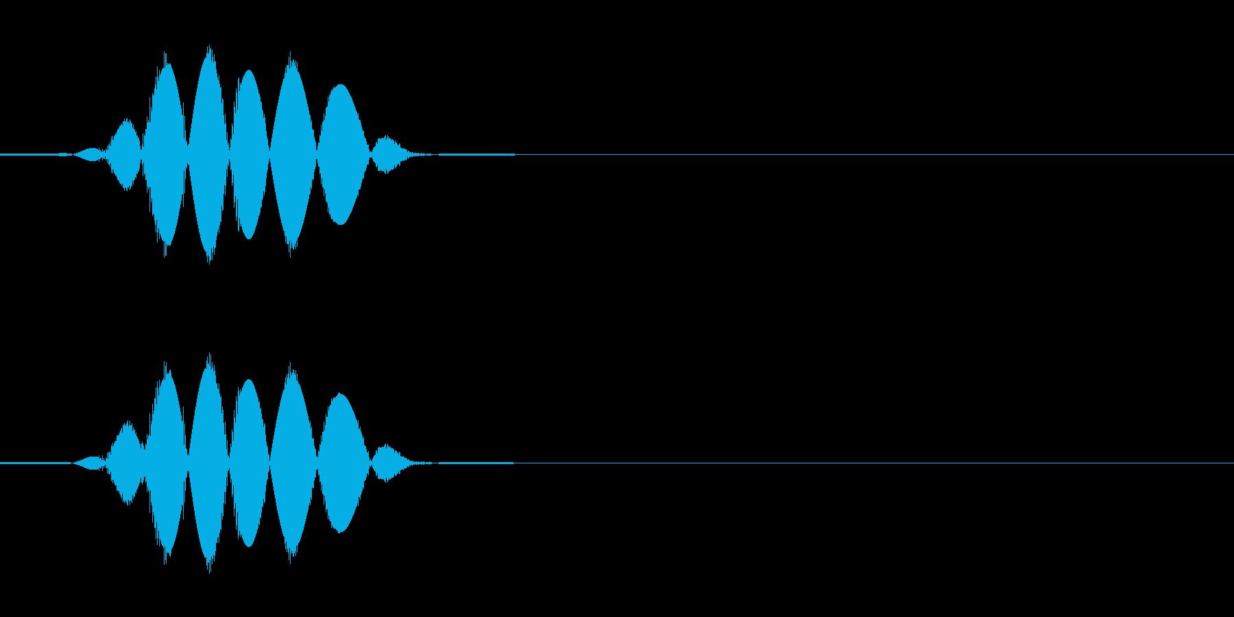 軽く殴る乾いた音の効果音の再生済みの波形