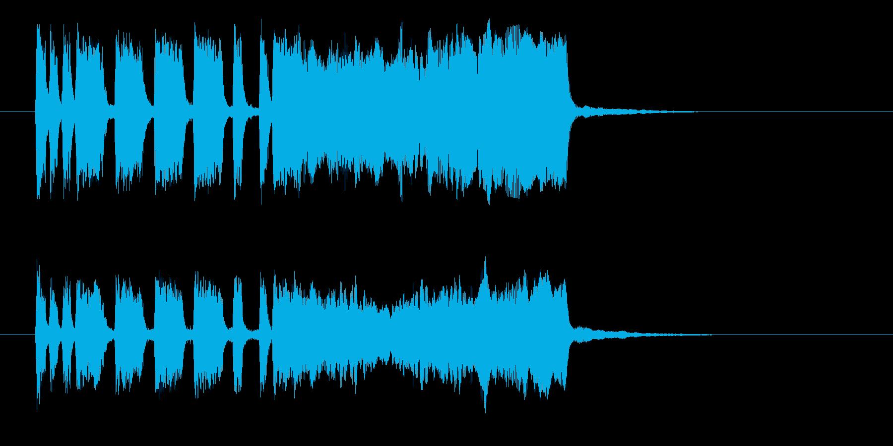 勢いと華やかなシンセ管楽器サウンド短めの再生済みの波形