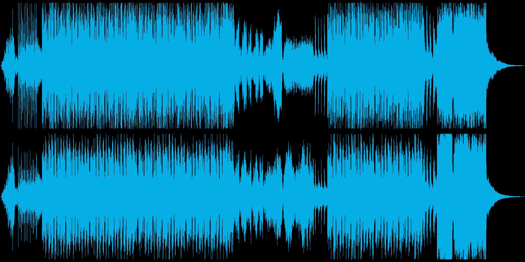 スターウォーズ風の勇壮で迫力あるオケ曲の再生済みの波形