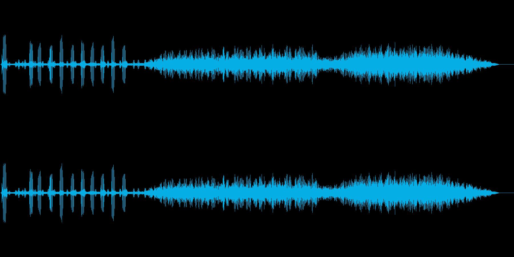 カエルの鳴き声の再生済みの波形
