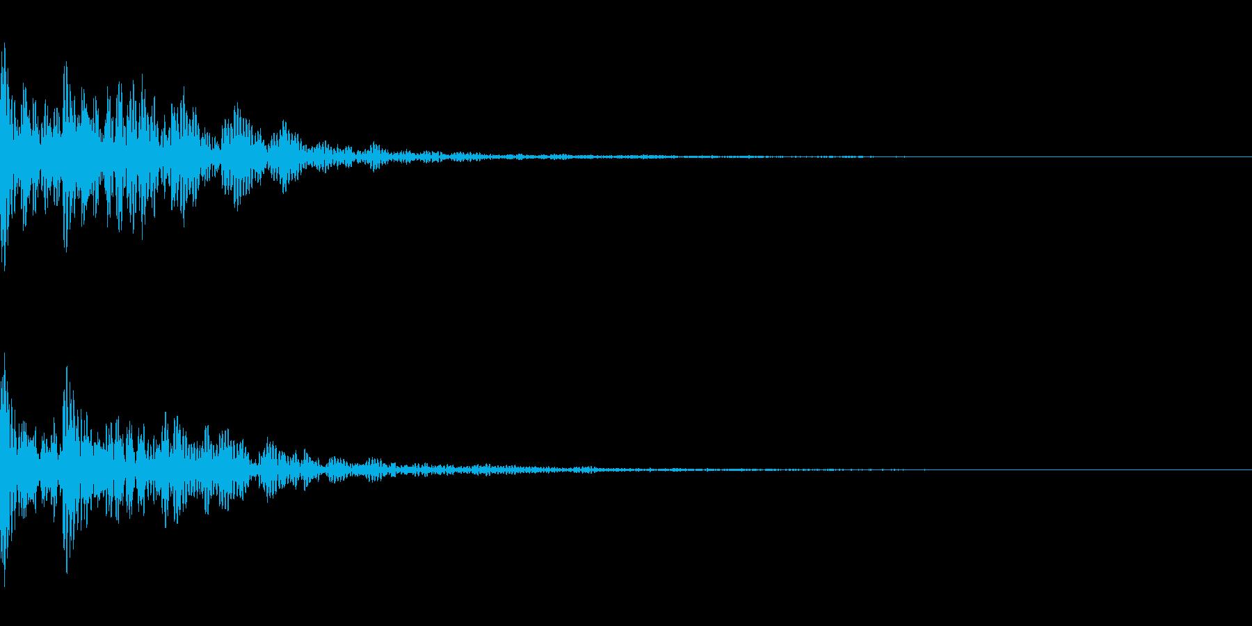 太鼓と拍子木。「ドドン」の再生済みの波形