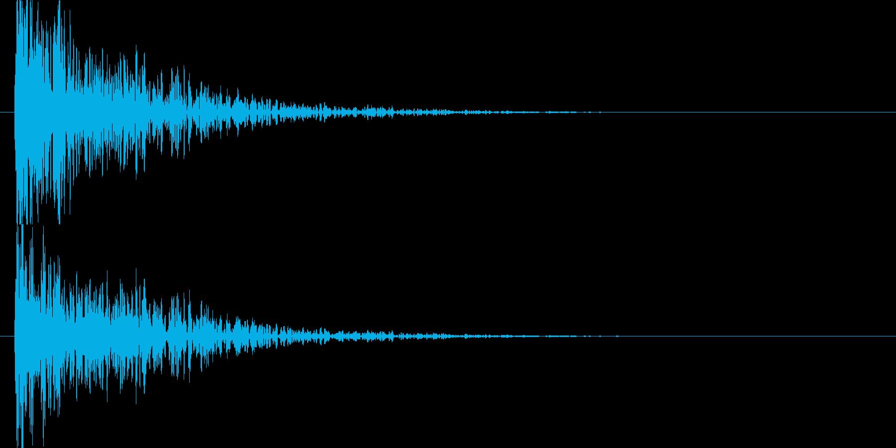 高音の混ざった衝突音の再生済みの波形