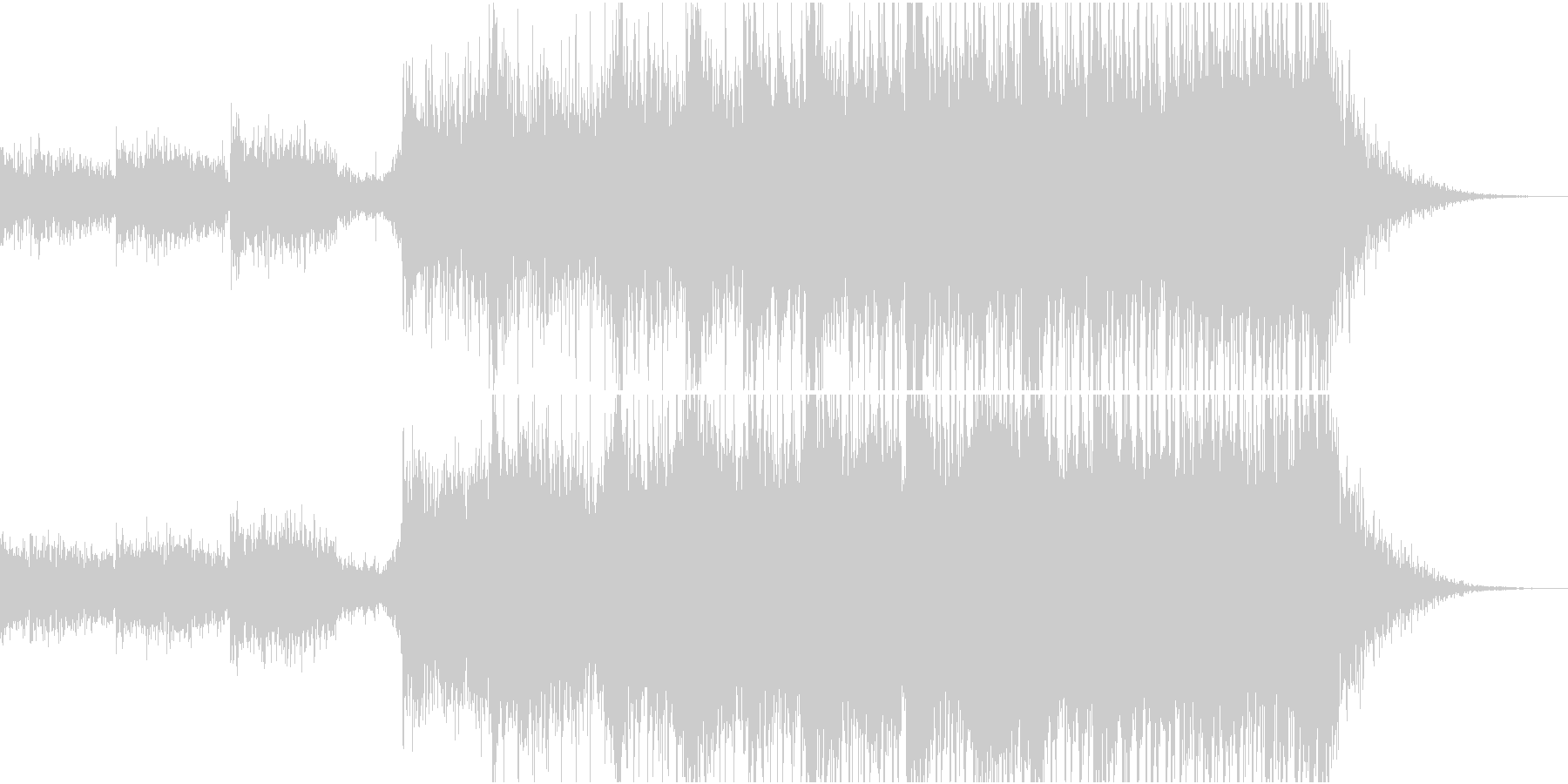 雷鳴が印象的で迫力と疾走感のある曲の未再生の波形
