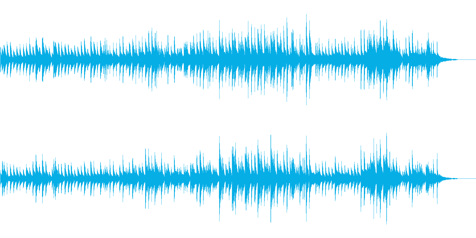 悲しいピアノの曲の再生済みの波形