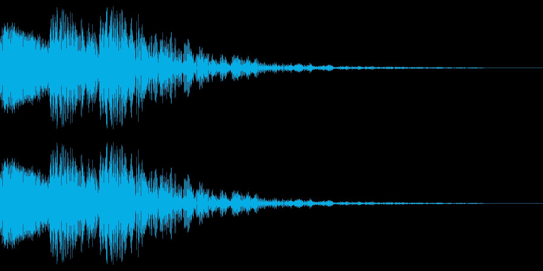 文字のインパクト音が3回鳴ります。の再生済みの波形