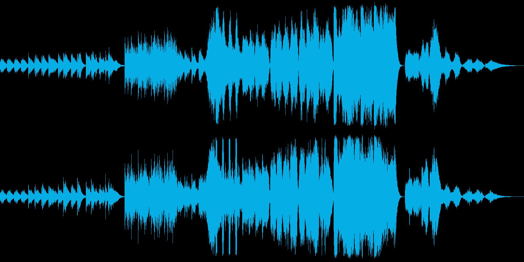 ピアノからオーケストラへ広がる音楽の再生済みの波形