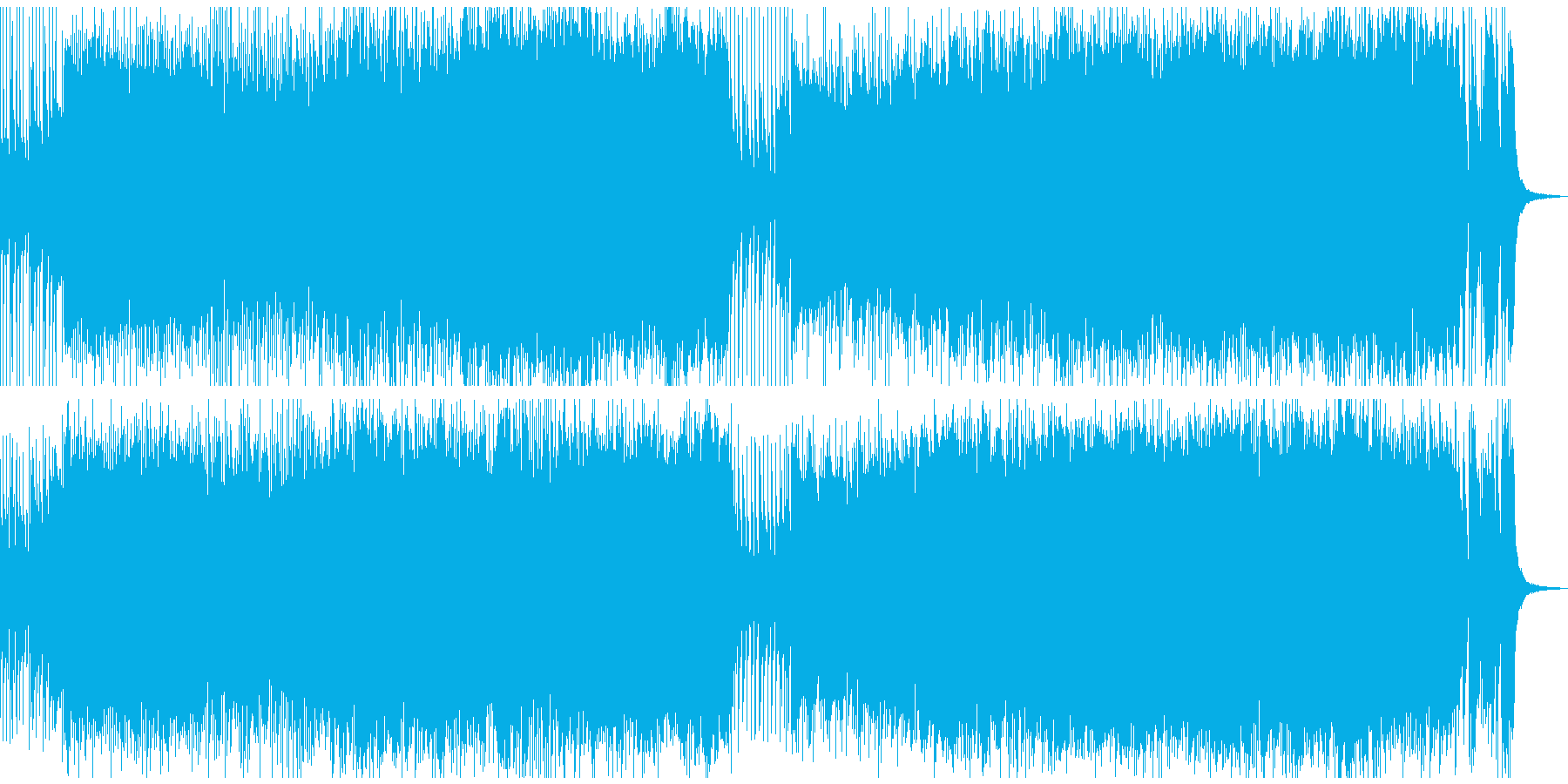 ピアノとバンドサウンドのデジタルロック風の再生済みの波形