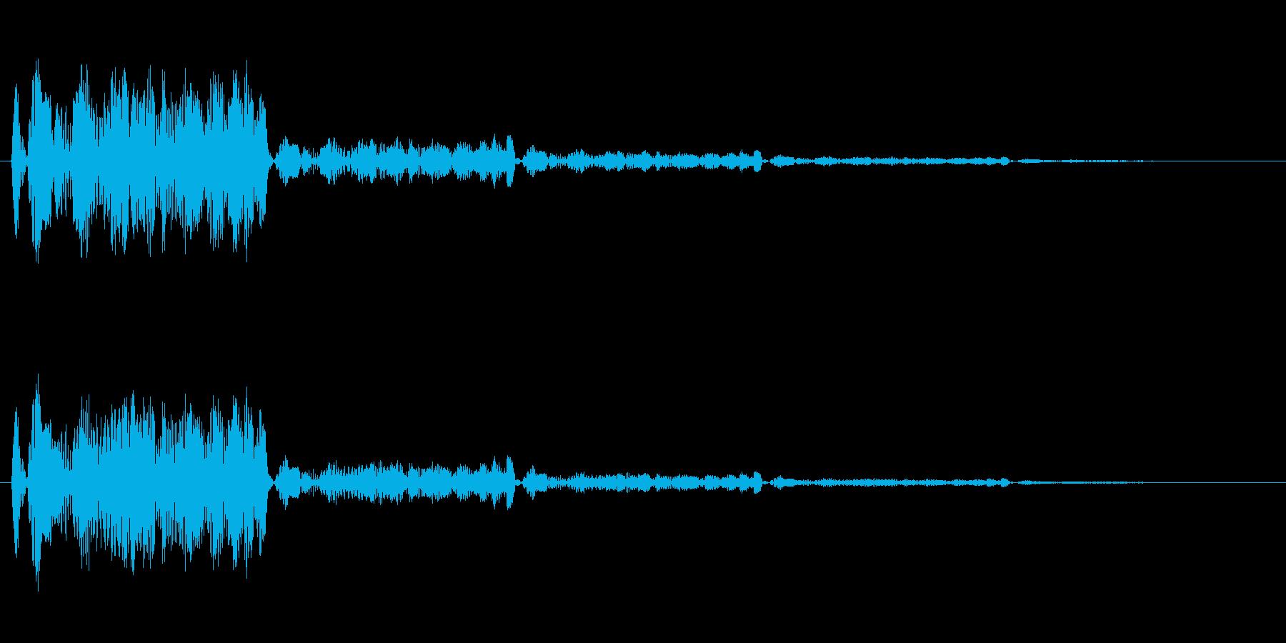 水を何かが思いっきり弾いた音の再生済みの波形