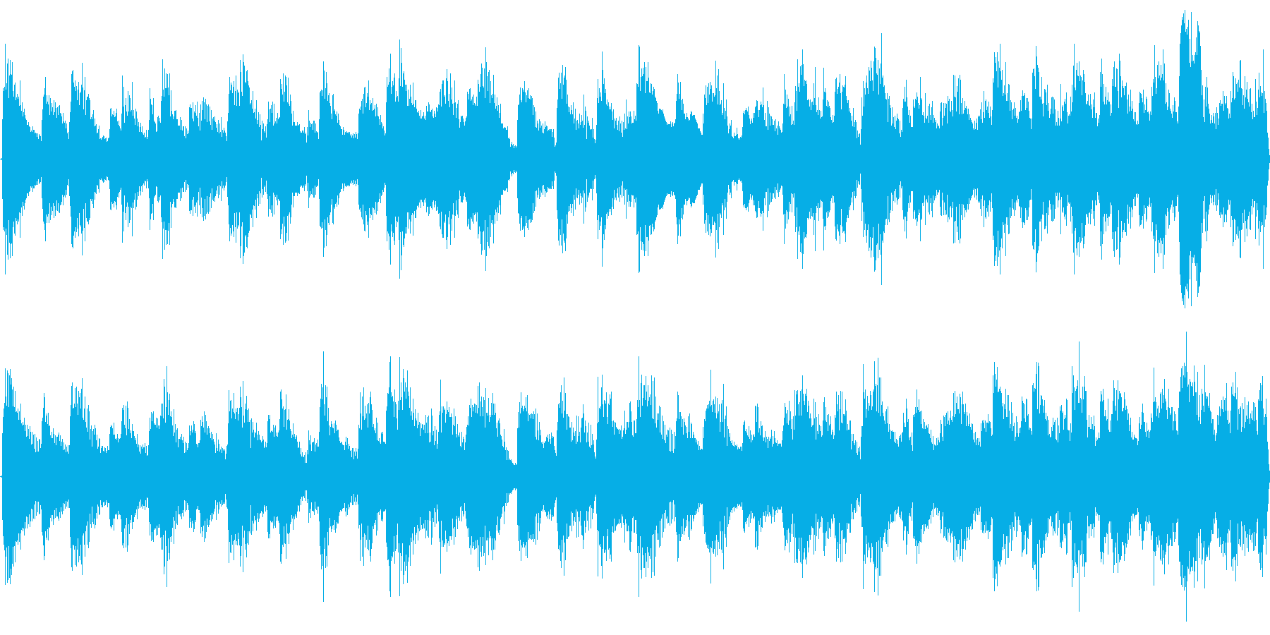 ゆったりしたラグタイム風のループ用BGMの再生済みの波形