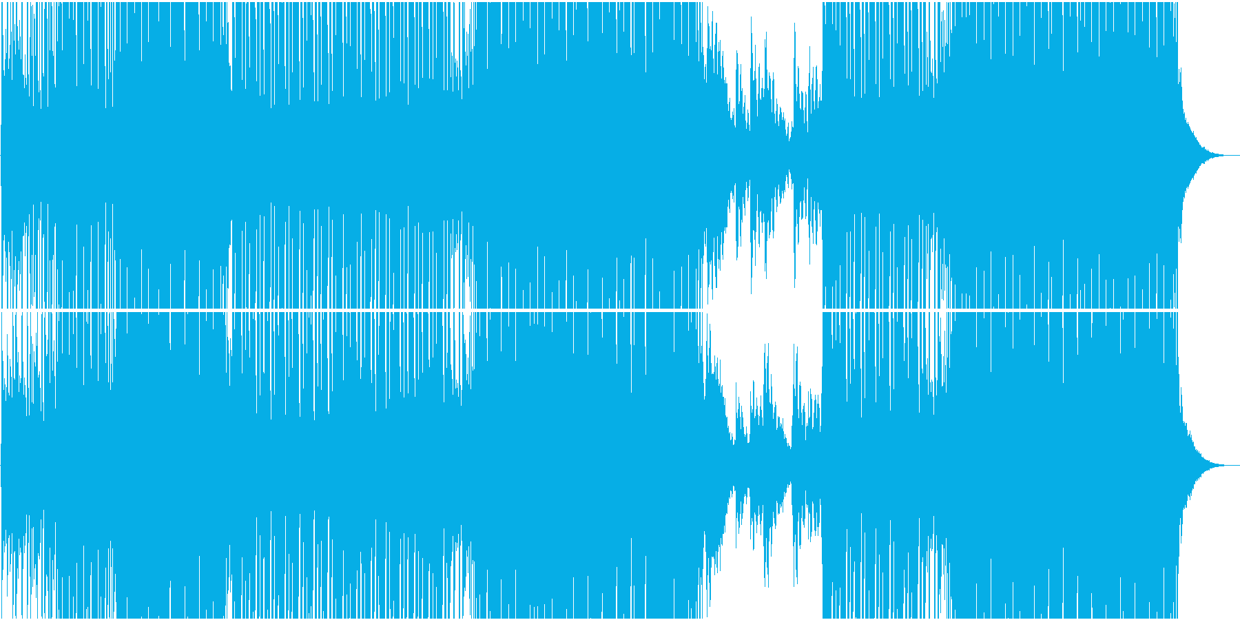 EDMシーケンスが爽やかなハウス系楽曲の再生済みの波形
