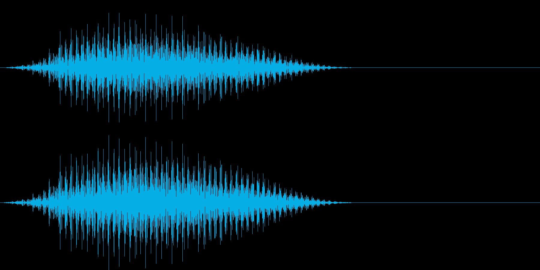 ウシガエルの鳴き声(牛のような低い声)の再生済みの波形