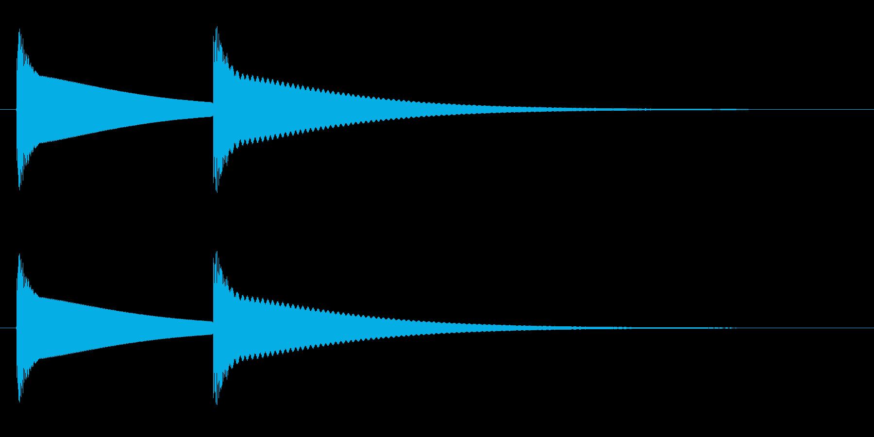 ピンポン(やや丸みのある高音の金属音)の再生済みの波形