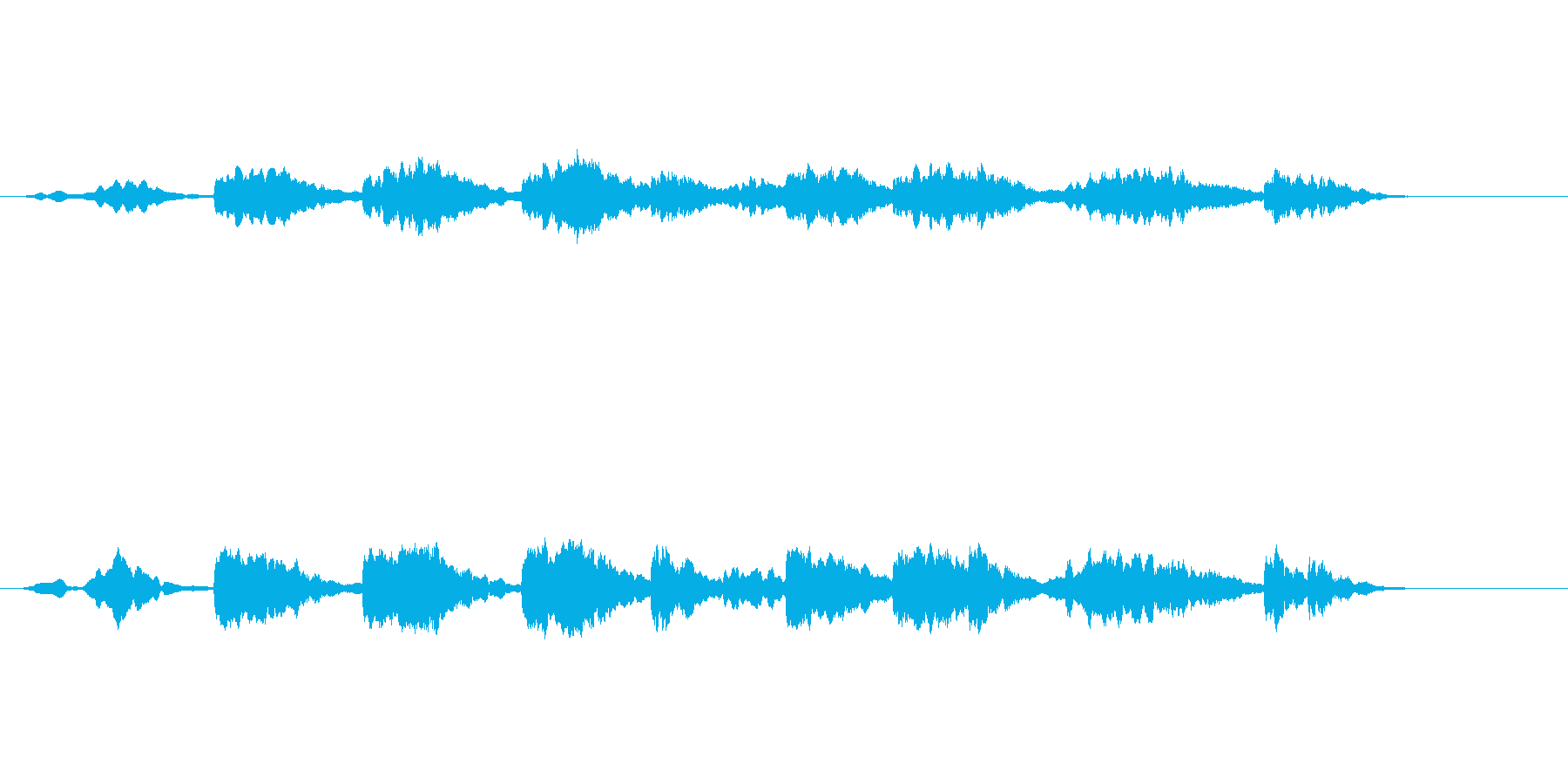漂うような環境音楽風の再生済みの波形