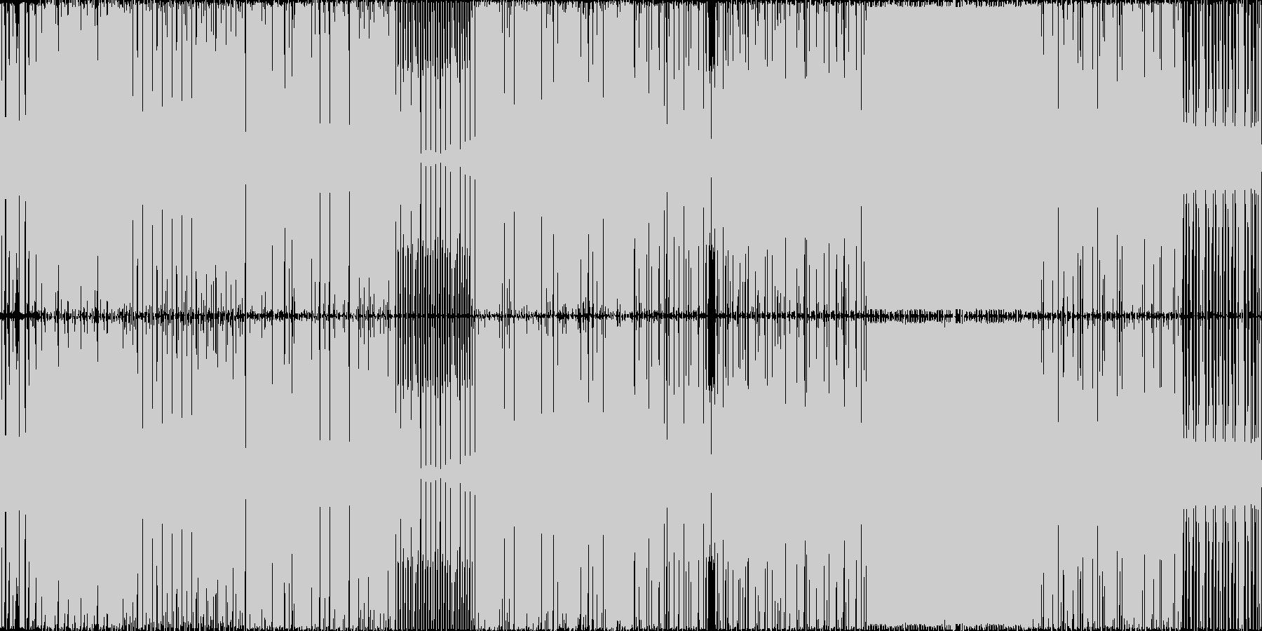暗めでドラム音とベースが多めの曲ですの未再生の波形